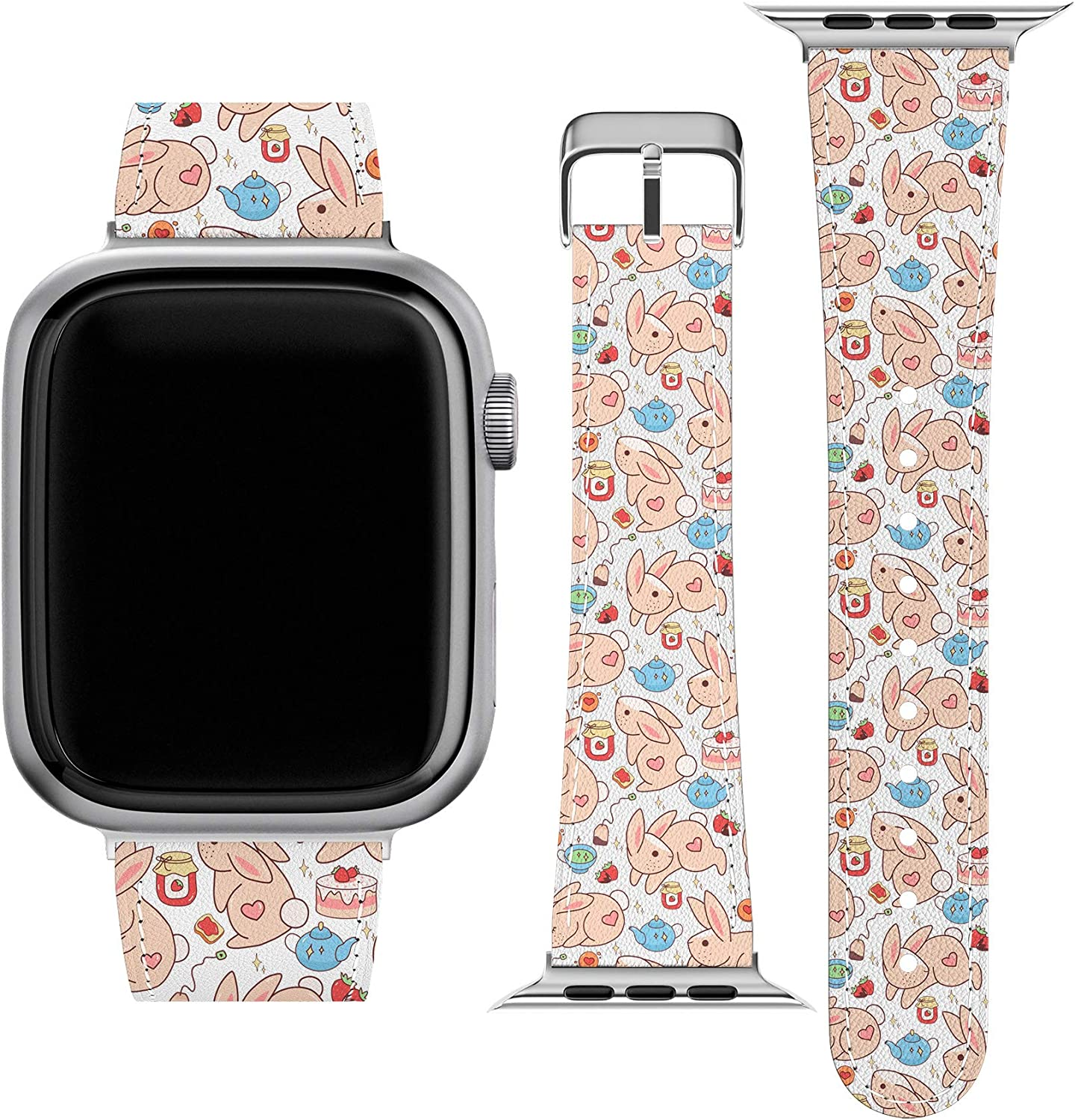 Lex Altern Band Compatible with Apple Watch Series 6 SE 5 4 3 2 1 38mm 40mm 42mm 44mm Replacement Strap for iWatch Kawaii Wristband Bunnies Thin Strawberry Cottagecore Cute Durable Bunny Stylish wh561