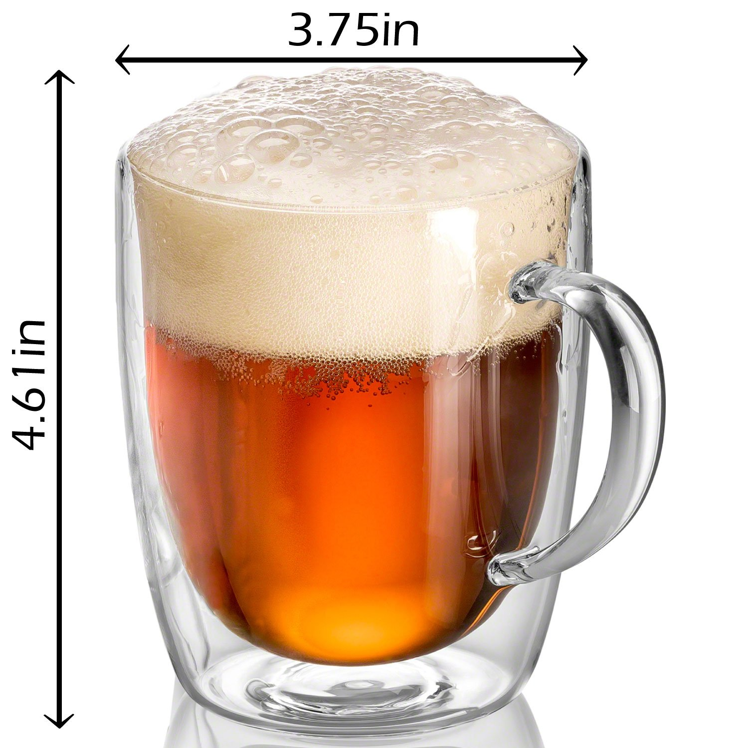 Pint Glasses - Double Wall Glass - Beer Mugs for Freezer - Dishwasher Safe - 18 oz (Set of 2) by JECOBI (Image #3)
