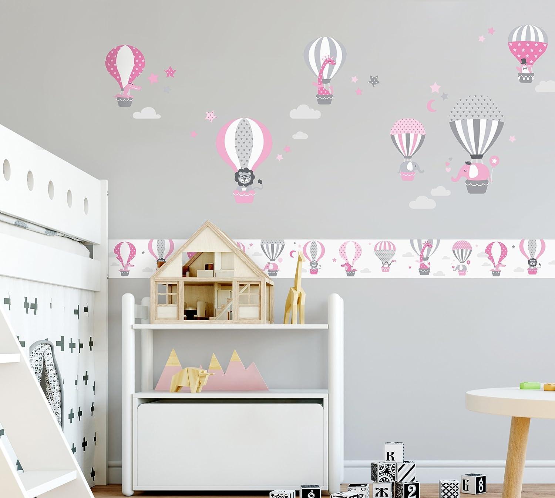 Lovely Label Wandsticker Selbstklebend Heissluftballons Grau Blau Wandaufkleber Kinderzimmer