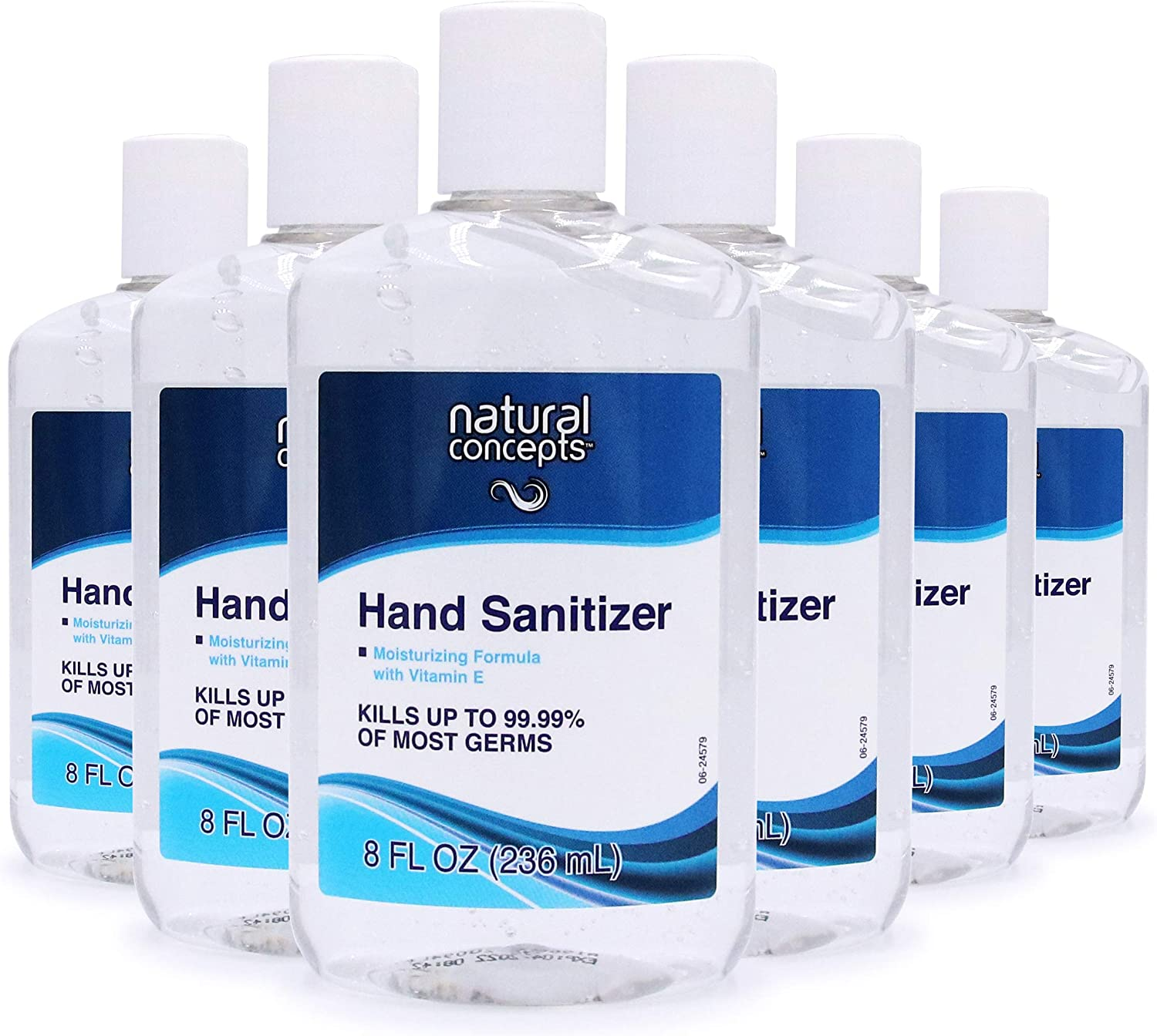 Natural Concepts Hand Sanitizer Gel, 6-Pack, 8 oz Bottles, 65% Ethyl Alcohol, Protect Against Germs On-The-Go with a Refreshing Vitamin E Formula