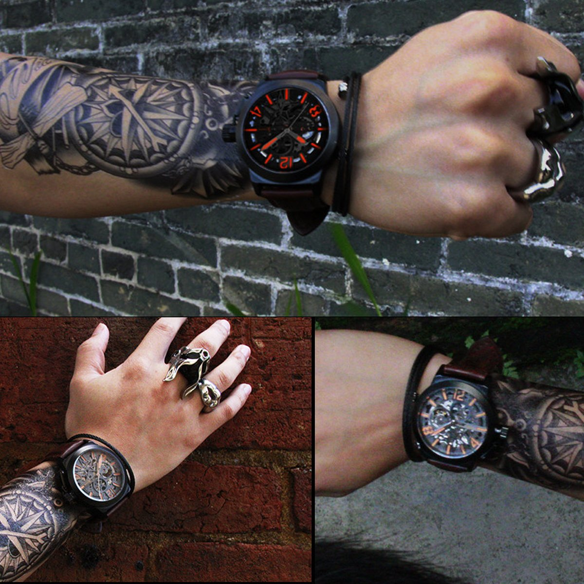 Gute Mechanical Men Automatic Watch, Motion Style Tone Self Winding Genuine Black Leather Band Watch by GLEIM (Image #7)
