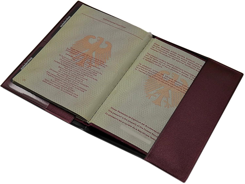 Bleu // Argent Prot/ège-passeport Made in UE en 3 couleurs Portefeuille passeport