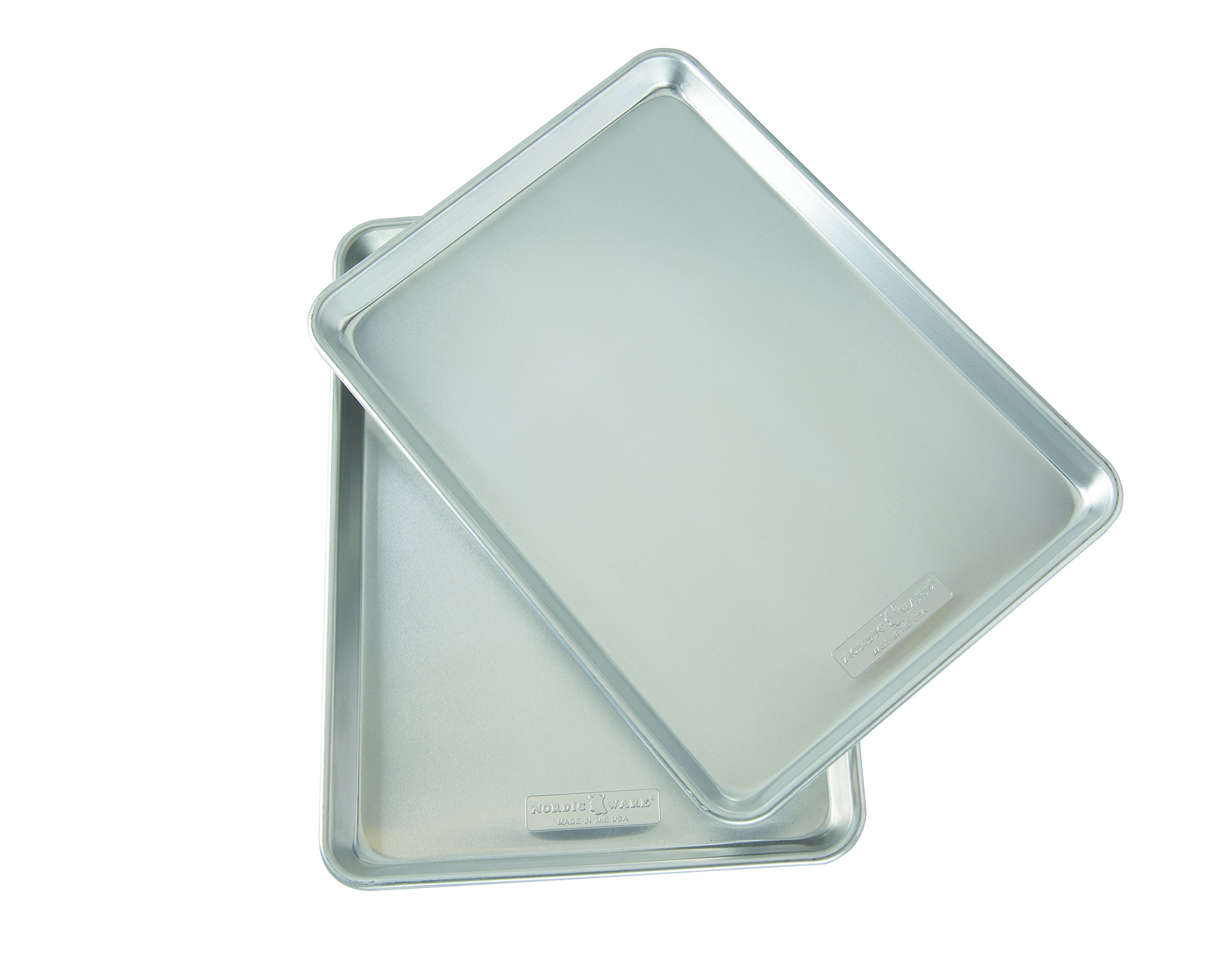Nordicware Natural Aluminum Commercial Baker's Half Sheet (2 Pack), Silver by Nordic Ware (Image #1)