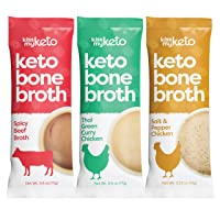 Kiss My Keto Bone Broth Powder Travel Packets — Collagen Protein (10g) + MCT Oil, 18 Amino Acids | Low Carb Variety (15 Pack) Chicken & Beef | Instant Bone Broth Soup — Single Servings