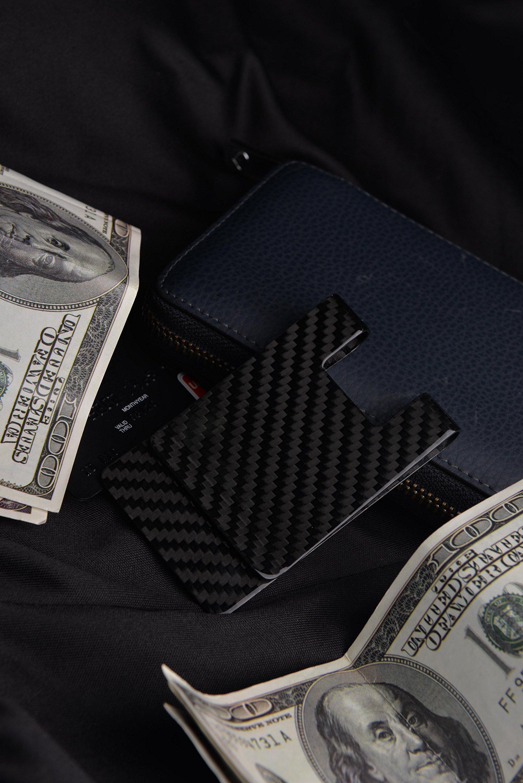 Carbon Fiber Money Clip-Credit card holder CL CARBONLIFE RFID Glossy clips for men 3K