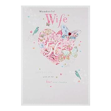 Hallmark Wife 50th Birthday Card Love And Thanks Large Amazon