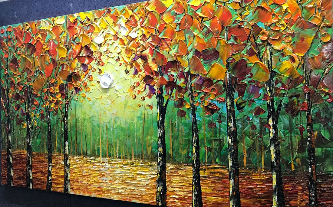 Desihum - 100% Hand-Painted Oil Painting Landscape Trees Forest Wall Art Modern Abstract Contemporary Artwork Stretched Wood Framed Ready Hang Home Decoration Wall Decor Living Room Hotel(20''x40'') by Desihum (Image #3)