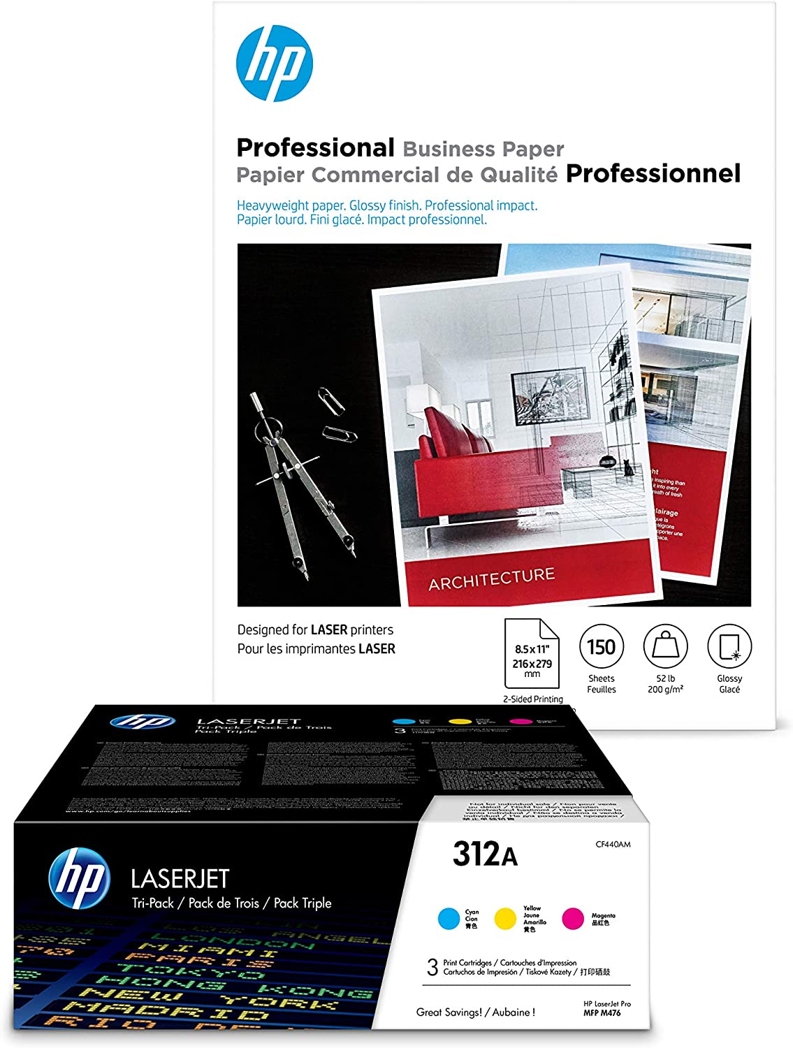 HP 312A 3 Color Toners C,Y,M + HP Brochure Paper, Glossy, Laser, 8.5 x 11, 150 sheets, Professional
