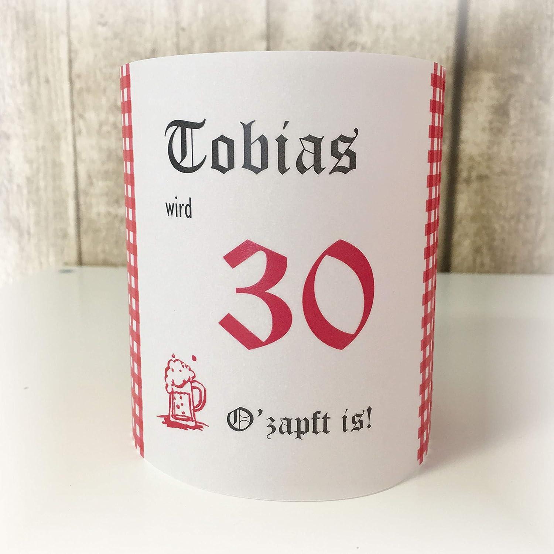 4er Set Tischlicht Tischlichter Oktoberfest bayrisch runder Geburtstag 40 50 60 70 80 90 Tischdeko personalisierbar rot