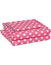 AmazonBasics Juego de sábanas, microfibra suave y fácil de lavar, infantil, individual, estrellas rosadas