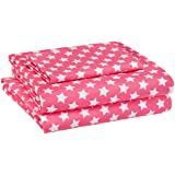 AmazonBasics Kid's Sheet Set - Soft, Easy-Wash Lightweight Microfiber - Twin, Pink Stars