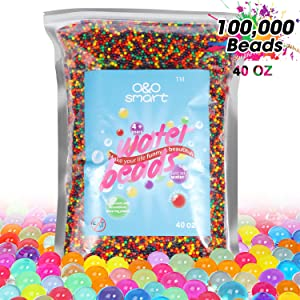 Water Beads 2.5lb (100,000 Beads), Non-Toxic Jelly beads for kids Summer Pool Parties, Sensory Toys, Plants, Vase, Spa Refill, Wedding and Home Decor, 9 Colors O&O smart Transparent Soft Beads