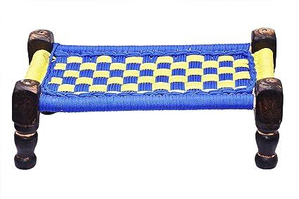 TRUSTFUL Wooden Small Decorative Chowki, Charpai Cot   Handicrafts   Gift Item   Home Decoration