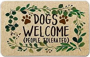 Occdesign Welcome Mat for Front Door Farmhouse Rustic Decorative Entryway Outdoor Floor Doormat Durable Burlap Outdoor Rug | Dogs Welcome People Tolerated