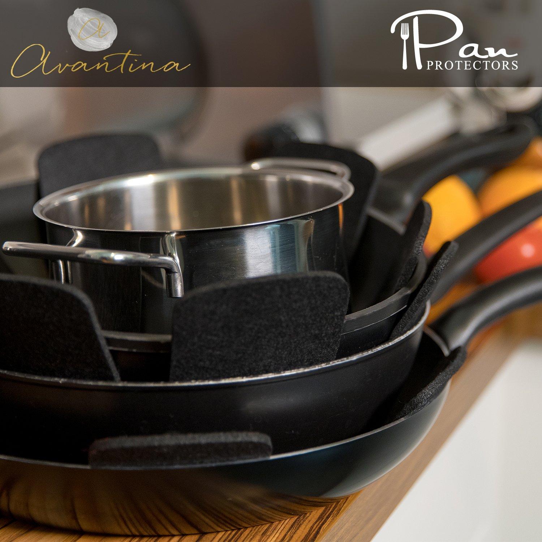 Avantina Protector de Olla y Sart/én Ideal para apilar sartenes y ollas protecci/ón extra de revestimiento mediante 0,4 cm Fieltro 40 x 40 cm 6Pcs