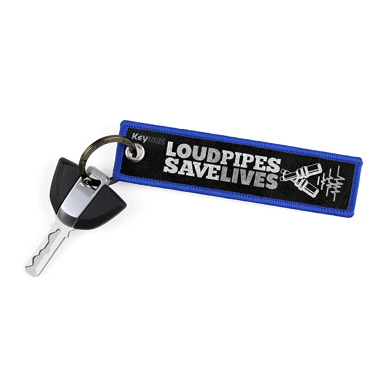 ATV UTV Scooter Premium Quality Key Tag for Motorcycle KEYTAILS Keychains Loud Pipes, Save Lives