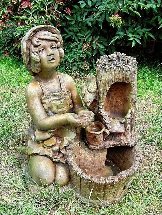 Casa Padrino Fuente de Jardín Deco Verde/Marrón H. 59 cm - Fuente de Piedra Artificial: Amazon.es: Hogar
