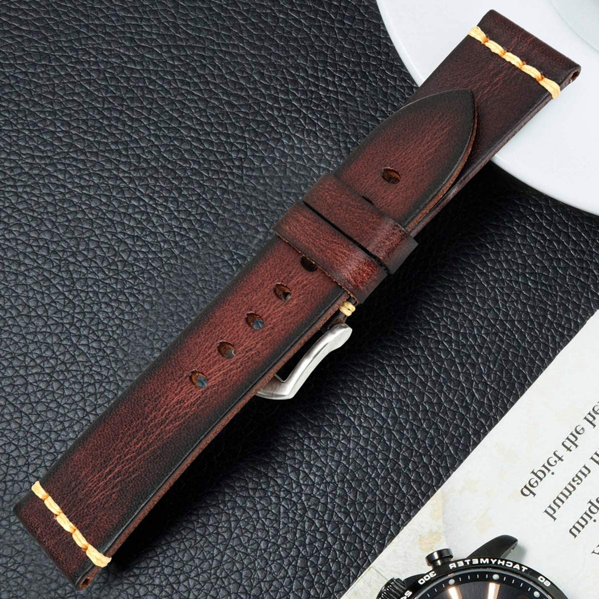 Bracelet en Cuir Bracelet 18mm 20mm 22mm 24mm du Bracelet Montre Bracelets Poignet Natural Brown Silver