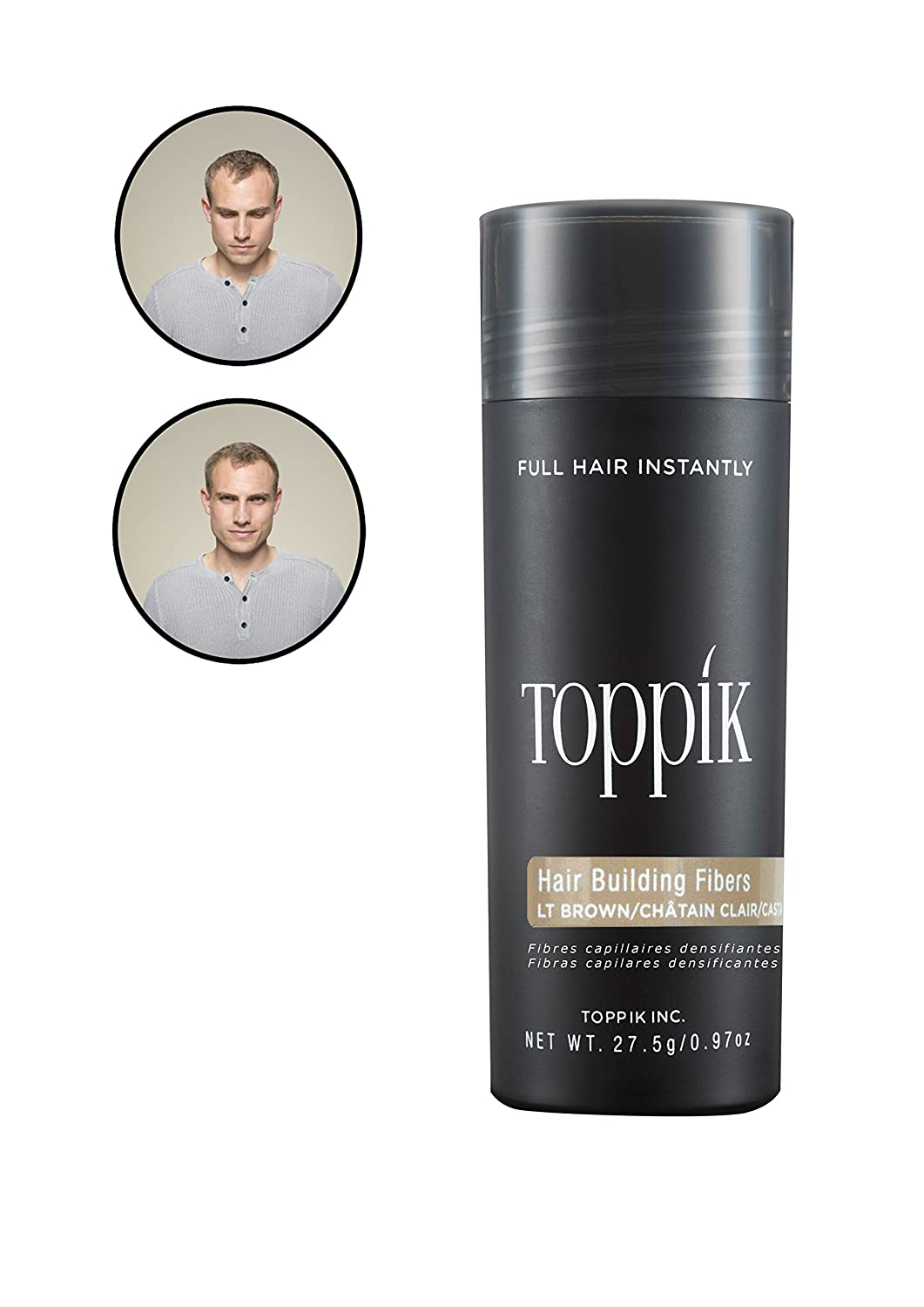 Toppik Hair Building Fibres for Instantly Fuller Hair, Gray, 27.5-g TOWIR EPG12A