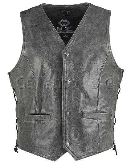 Gallanto Vintage Stonewash Side Lace Classic Mens Motorcycle Leather Waistcoat Vest Leather Vest Men Biker Leather Waistcoat