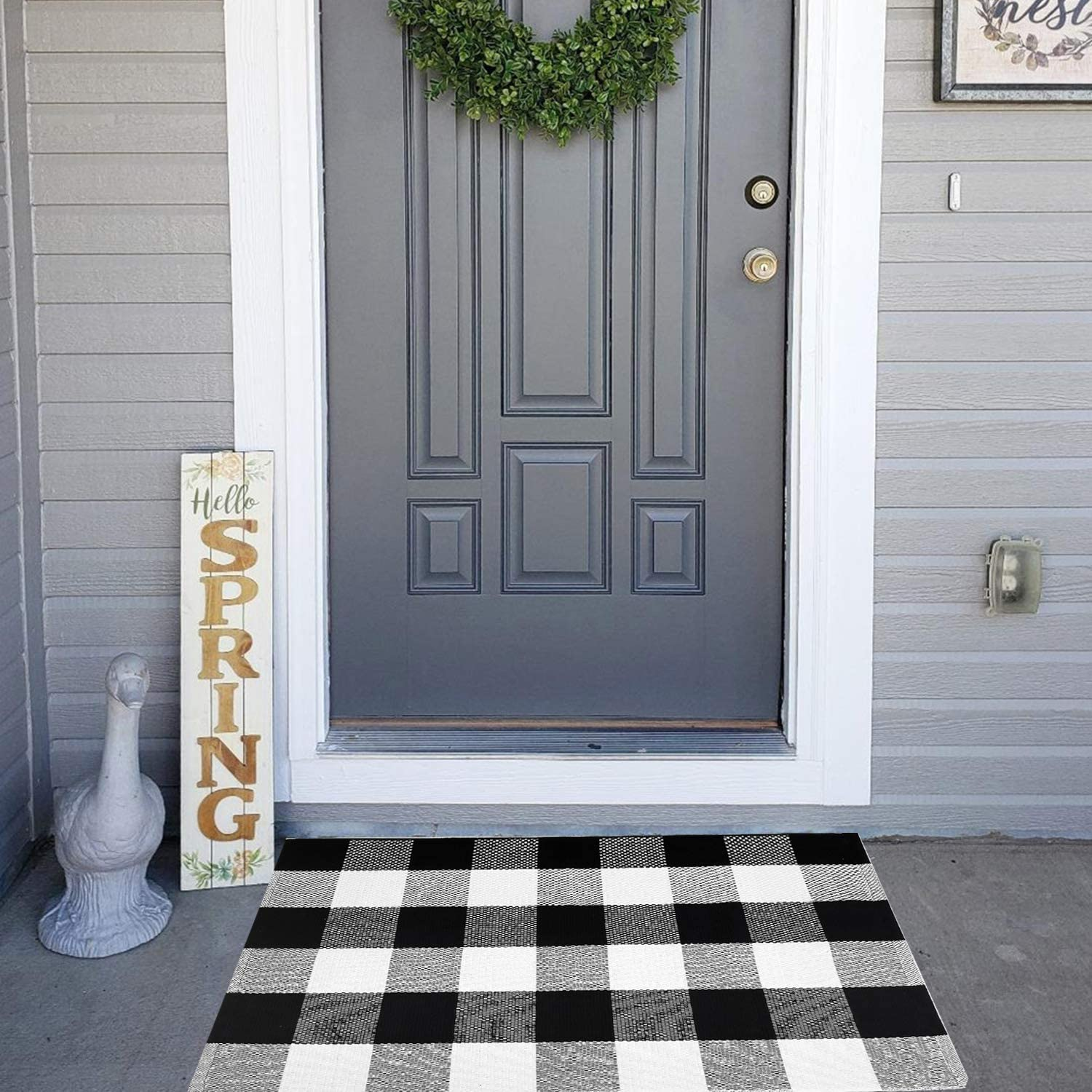 Plaid Rug Door Mat Washable Doormat Cotton Buffalo Checkered Rug-2 x 3 Bedroom Carpet Black and White Welcome Mat for Doorway//Laundry Room//Kitchen//Entry Way 23.6x35.4, Black//White