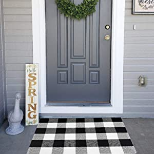 """Plaid Rug Door Mat Washable Doormat Cotton Buffalo Checkered Rug-2' x 3' Bedroom Carpet Black and White Welcome Mat for Doorway/Laundry Room/Kitchen/Entry Way (23.6""""x35.4"""", Black/White)"""