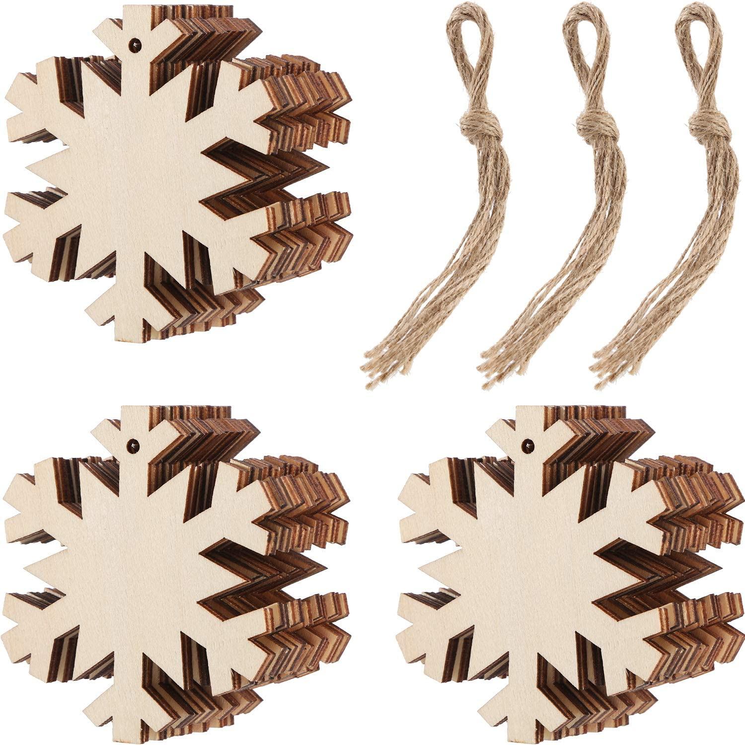 Tatuo 30 Pieces Wooden Snowflake Cutouts Christmas Wood Snowflake Decorations with 30 Pieces Twine Ropes for Kids Crafts Christmas Ornaments