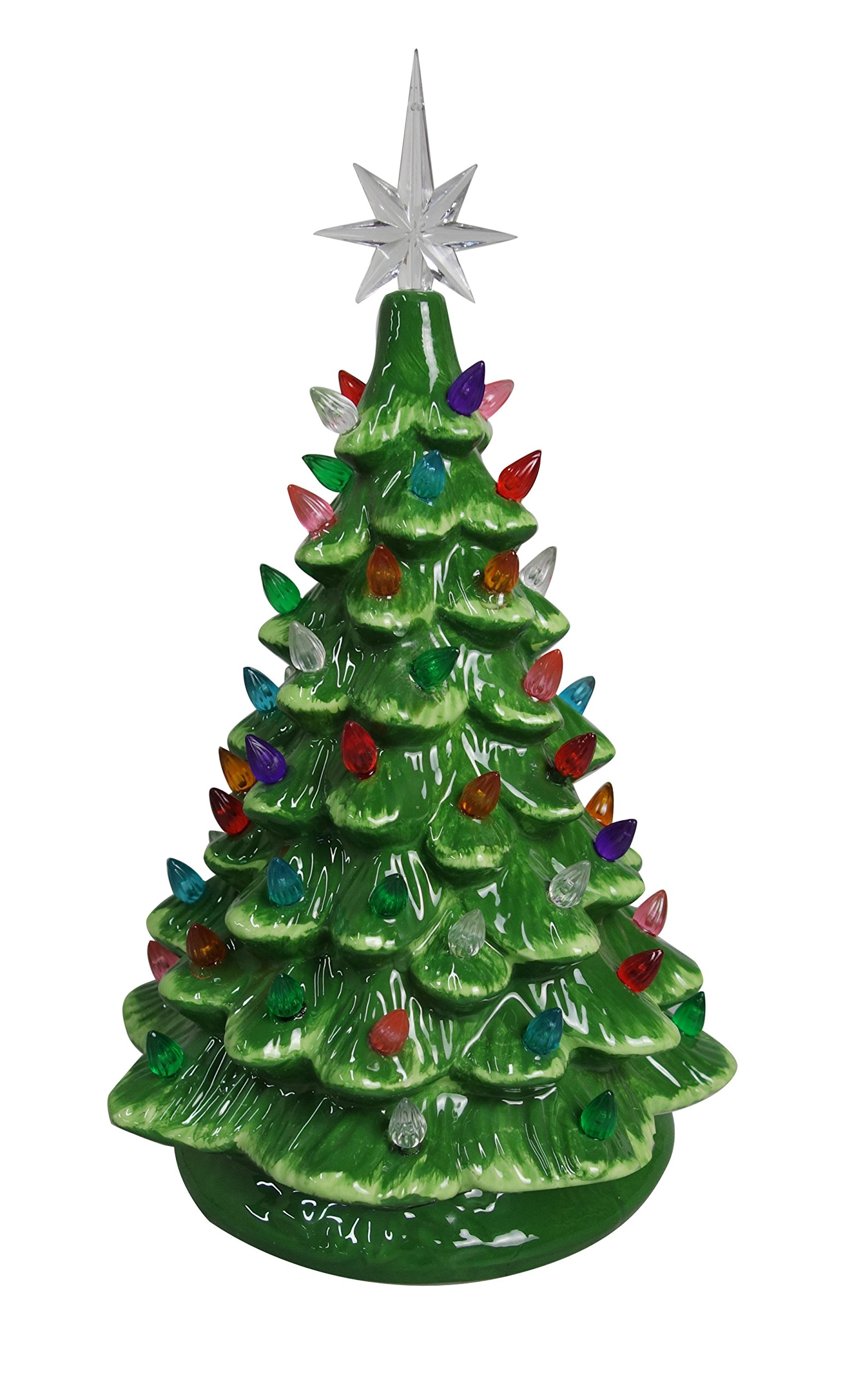 ReLIVE Christmas Is Forever Lighted Tabletop Ceramic Tree (14.5'' Green Tree/Multi Color Lights)