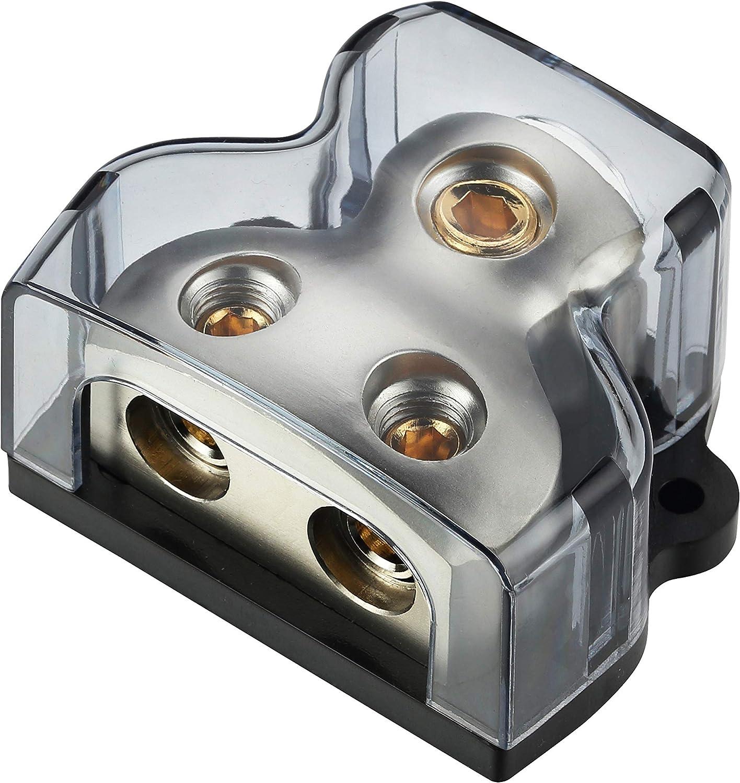 0//2//4GA Input to 2 4 8 Gauge Output Silver Ground Power Distribution Block