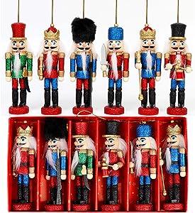OurWarm Nutcracker Christmas Decorations 6Pcs Christmas Nutcrackers Ornaments, Sparkle Nutcrackers Figures for Christmas Tree Ornaments Birthday Gift Home Party Xmas Decorations