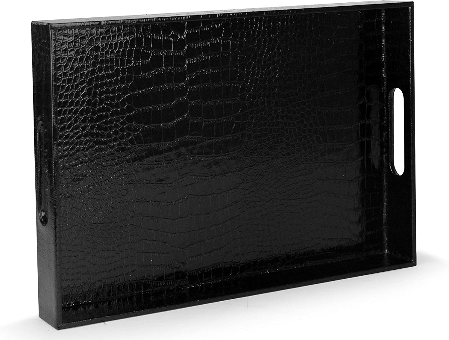 "Beautiful Modern Elegant Black 18""x12"" Rectangle Glossy Alligator Croc Decorative Ottoman Coffee Table Perfume Living Dining Room Kitchen Serving Tray With Handles By Home Redefined For All Occasion's"