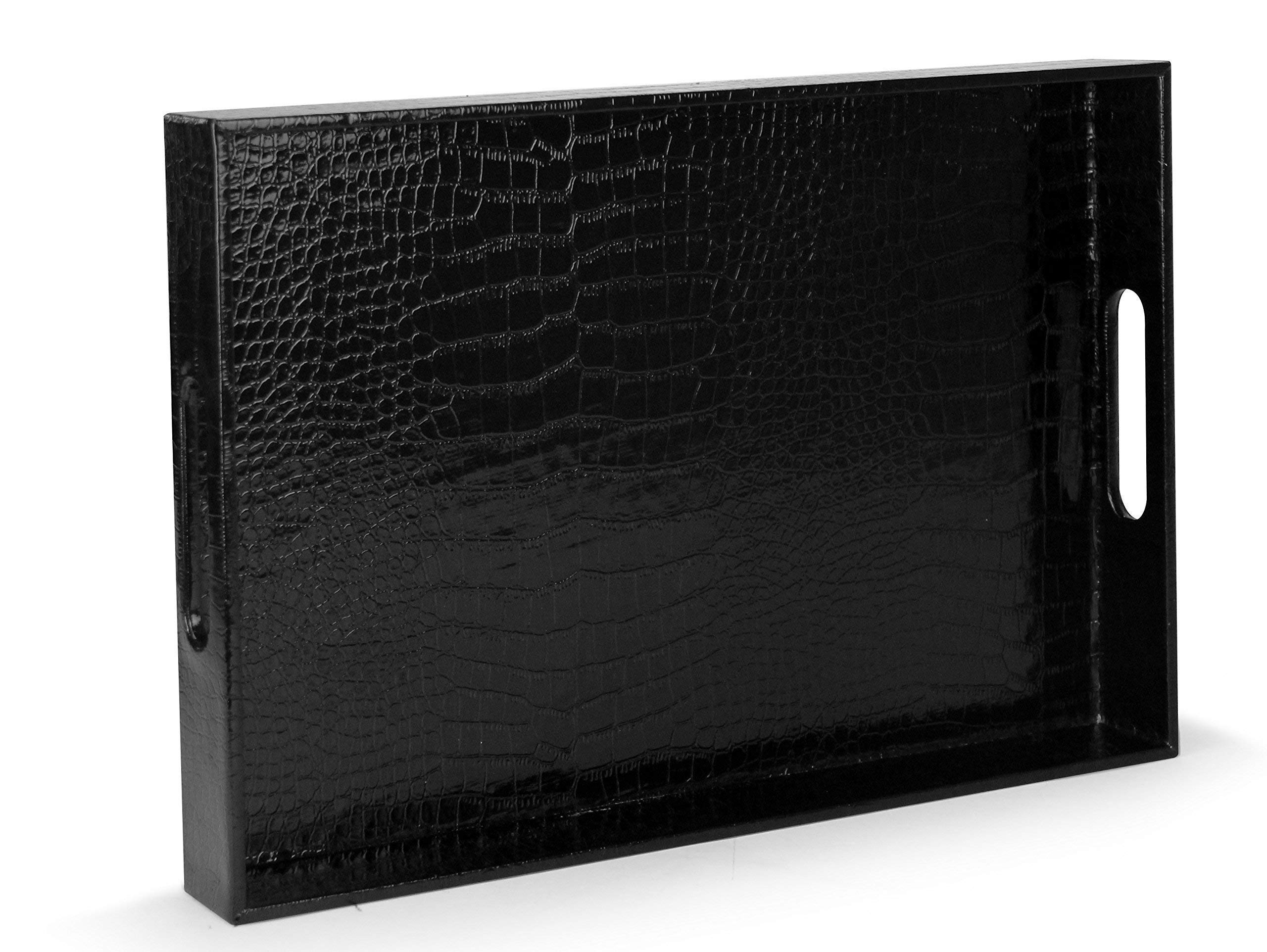 Beautiful Modern Elegant Black 18''x12'' Rectangle Glossy Alligator Croc Decorative Ottoman Coffee Table Perfume Living Dining Room Kitchen Serving Tray With Handles By Home Redefined For All Occasion's by HOME REDEFINED