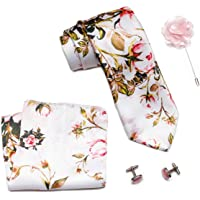 Axlon Men Formal/Casual Printed Satin Neck Tie Pocket Square Accessory Gift Set with Cufflinks and Lapel Pin - Pink (Free Size, ltr_812)