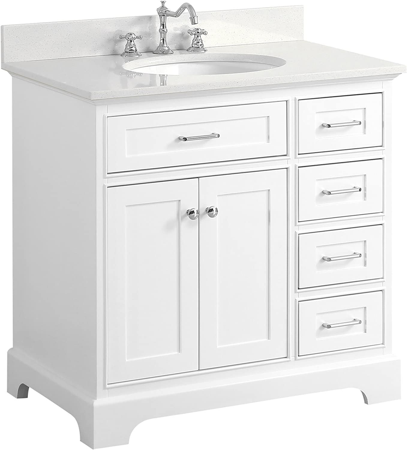 Aria 36-inch Bathroom Vanity Quartz White Includes a White Cabinet with Soft Close Drawers, Quartz Countertop, and White Ceramic Sink