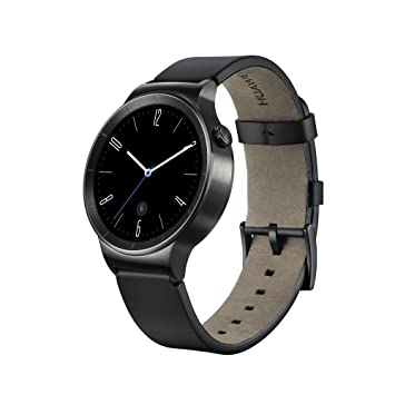 huawei smartwatch black. huawei w1 active smartwatch with leather strap - black a