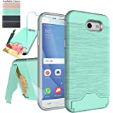 Samsung Galaxy J3 Emerge,J3 Eclipse,J3 Prime,J3 Mission,J3 Luna Pro,Amp Prime 2,Express Prime 2,Sol 2 Case with Protector,NiuBox[Card Slot Wallet Kickstand] Protective Phone Case for J3 2017-Turquoise