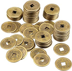 Tatuo 120 Pieces 1 Inch Chinese Coins Feng Shui I-Ching Coins Good Luck Fortune Coins for Health Success and Wealth