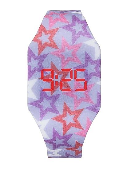 Reloj LED Digital Chica, Infantil y Joven, de Pulsera, Correa de Suave Silicona, Trendy Regalo, Estrellas, Kiddus KI10213: Amazon.es: Relojes