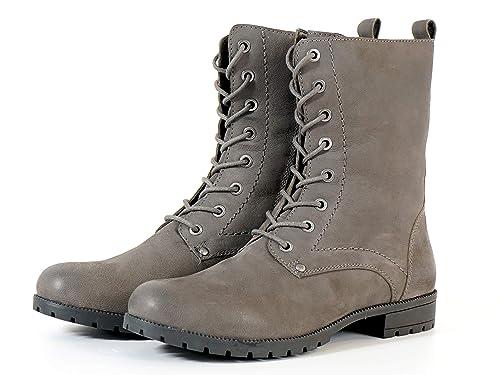 Aspele Mujer Cuero Negro/Marrón Combate Estilo Militar Botines Estilo Motero con Encaje Superior e Cremallera: Amazon.es: Zapatos y complementos