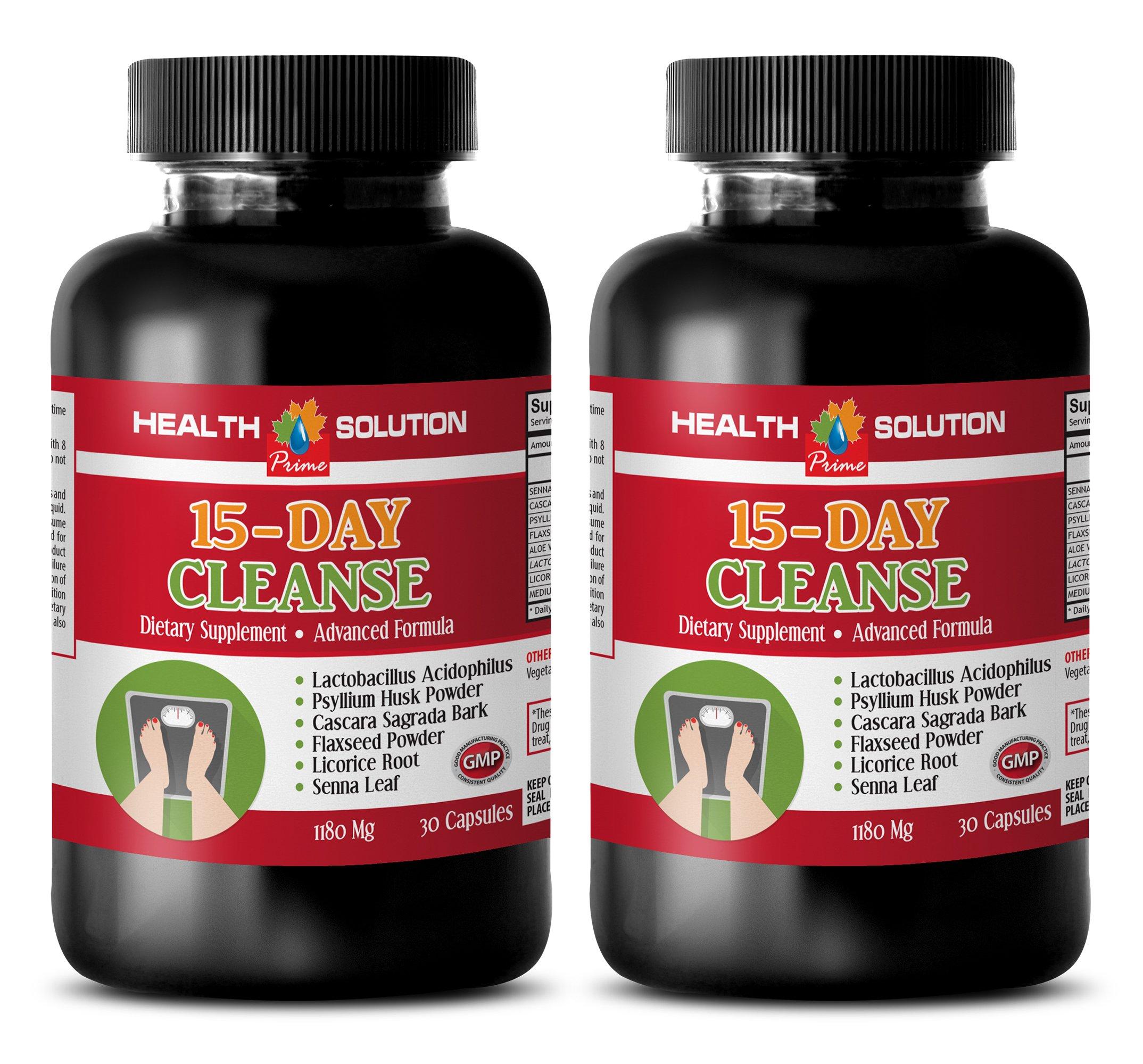 weight loss herbal supplements - 15 DAYS CLEANSE - ADVANCED FORMULA - psyllium husk pills - 2 Bottles 60 Capsules