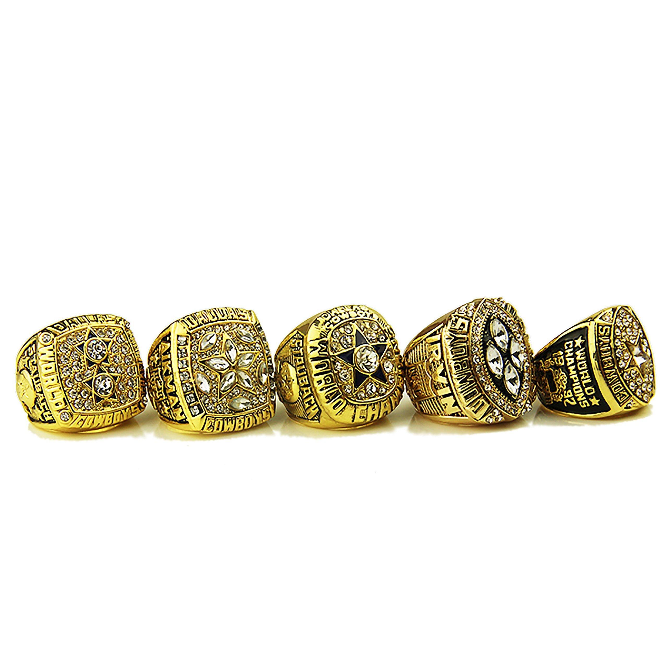 GF-sports store Dallas Cowboys Supper Bowl Championship Rings Display Box Full Set Replica (Yellow)