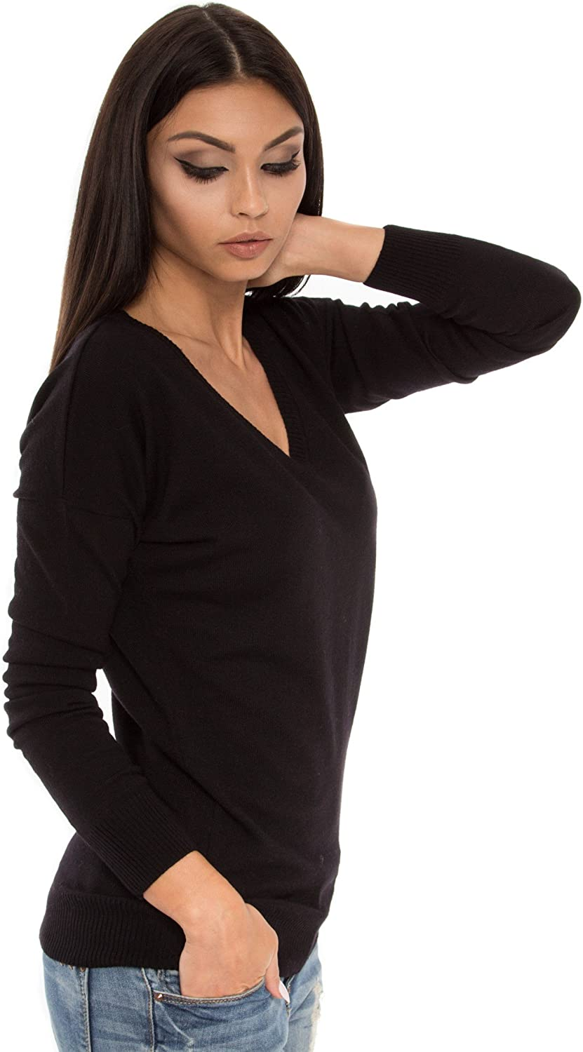 KNITTONS Women Merino Wool V Neck Sweater Regular Fit