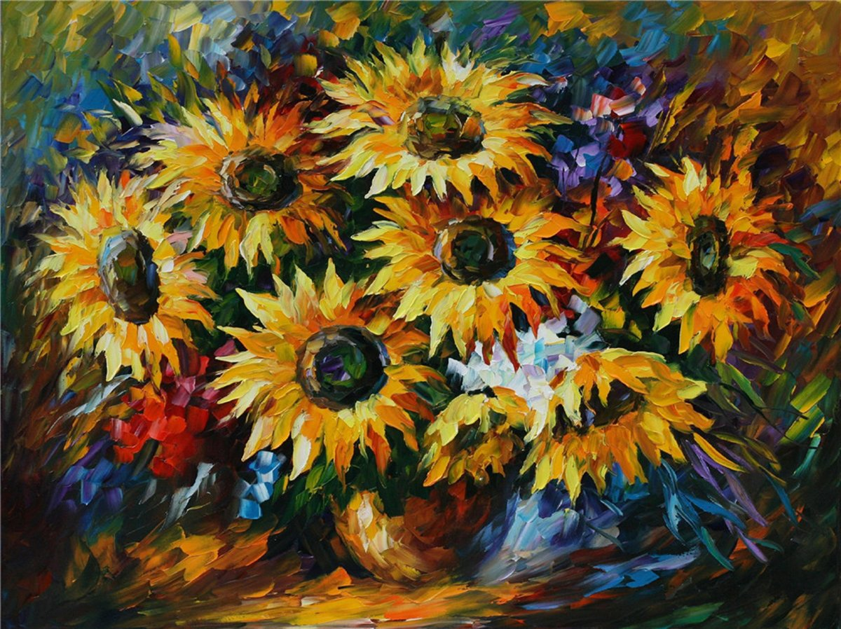 100% Hand Painted Oil Paintings Modern Painting Wall Decor Sunflower Contemporary Abstract Oil paintings (20X28 Inch, Modern Art 4)