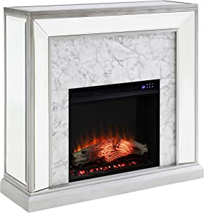 SEI Furniture Trandling Mirrored & Faux Electric Fireplace, New Antique Silver/White Marble
