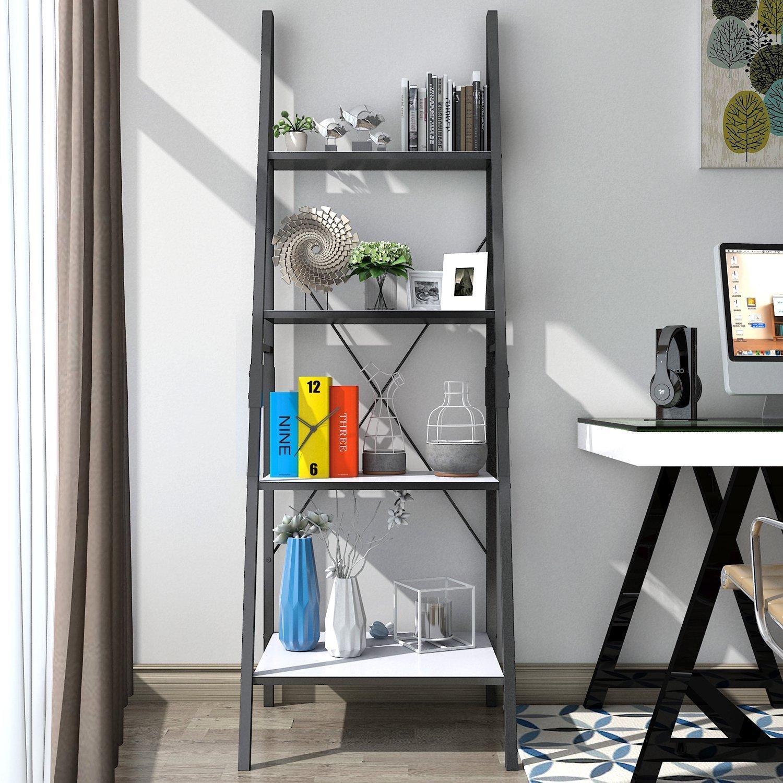 Lifewit Standregal Bücherregal Leiterregal mit 4 Ablageflächen aus ...