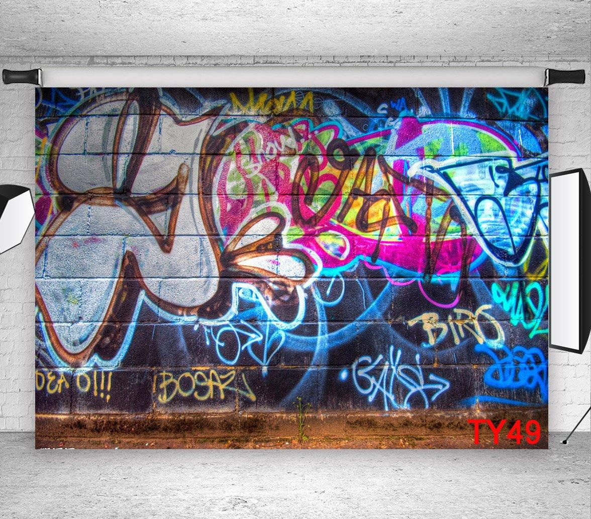 LB 9x6ft Street Brick Wall Graffiti Photography Backdrop Vinyl Customized Photo Background Studio Prop TY49