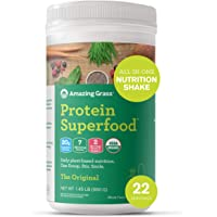 Amazing Grass Protein Superfood: Vegan Protein Powder, All-in-One Nutrition Shake, Unflavored 22 Servings