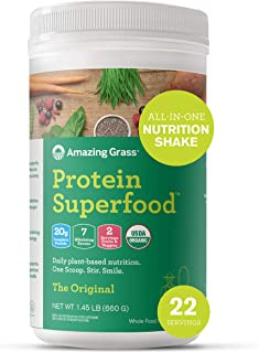 product image for Amazing Grass Protein Superfood: Vegan Protein Powder, All-in-One Nutrition Shake, Unflavored 22 Servings