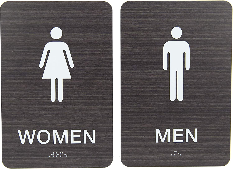 Non-Accessible/Wheelchair Men & Women ADA Restroom (Bathroom) Sign Set w/Braille - Dark Wood