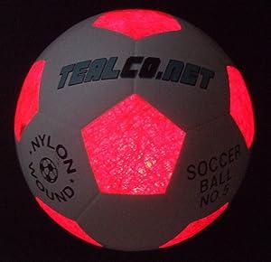 TealCo Light-up Soccer Ball - LED Glow in The Dark Full Size 5